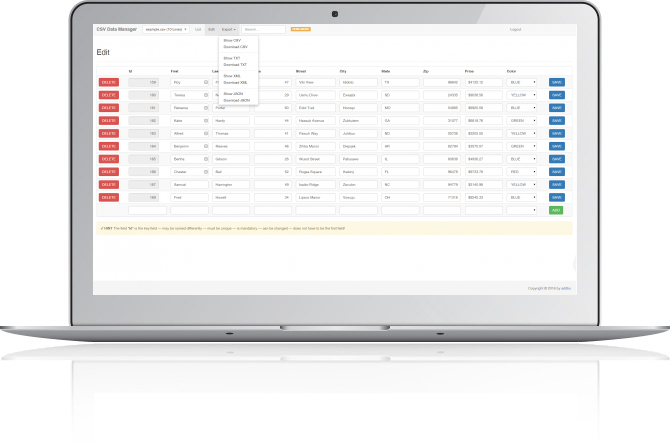 Editor CSV online - PHP CRUD - 1